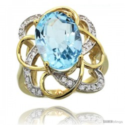 14k Gold Sky Blue Topaz Floral Design Engagement Ring 6.20 Carats Oval Cut stone 0.09 cttw Diamonds, 7/8inch.