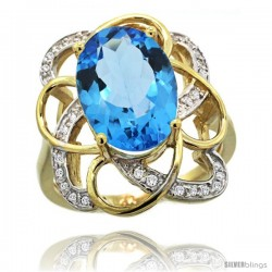 14k Gold Natural Swiss Blue Topaz Floral Design Ring 13x 19 mm Oval Shape Diamond Accent, 7/8inch wide