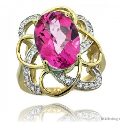 14k Gold Natural Pink Topaz Floral Design Ring 13x 19 mm Oval Shape Diamond Accent, 7/8inch wide