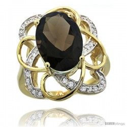 14k Gold Natural Smoky Topaz Floral Design Ring 13x 19 mm Oval Shape Diamond Accent, 7/8inch wide