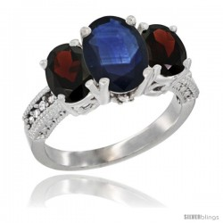 14K White Gold Ladies 3-Stone Oval Natural Blue Sapphire Ring with Garnet Sides Diamond Accent