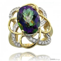 14k Gold Natural Mystic Topaz Floral Design Ring 13x 19 mm Oval Shape Diamond Accent, 7/8inch wide