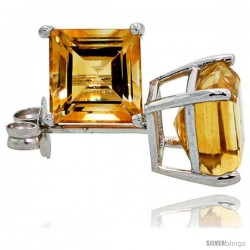 14K White Gold 6 mm Citrine Square Stud Earrings 2 cttw November Birthstone