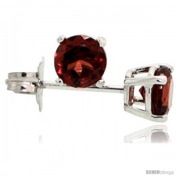 14K White Gold 4 mm Garnet Stud Earrings 1/2 cttw January Birthstone