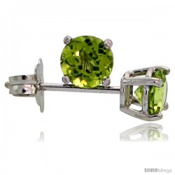 14K White Gold 4 mm Peridot Stud Earrings 1/2 cttw August Birthstone