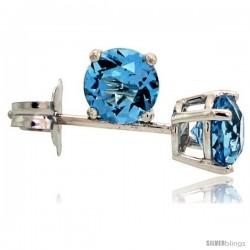 14K White Gold 4 mm Blue Topaz Stud Earrings 1/2 cttw December Birthstone