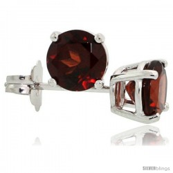 14K White Gold 5 mm Garnet Stud Earrings 1 cttw January Birthstone