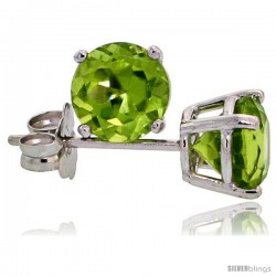 14K White Gold 5 mm Peridot Stud Earrings 1 cttw August Birthstone