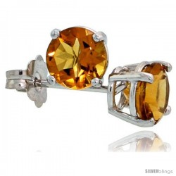 14K White Gold 5 mm Citrine Stud Earrings 1 cttw November Birthstone