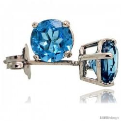 14K White Gold 5 mm Blue Topaz Stud Earrings 1 cttw December Birthstone