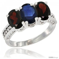 14K White Gold Natural Blue Sapphire & Garnet Sides Ring 3-Stone 7x5 mm Oval Diamond Accent