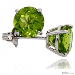 14K White Gold 6 mm Peridot Stud Earrings 2 cttw August Birthstone
