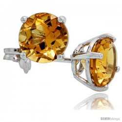 14K White Gold 6 mm Citrine Stud Earrings 2 cttw November Birthstone