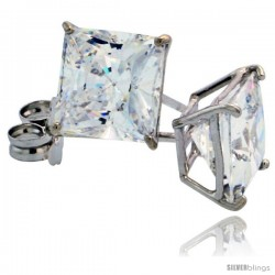 14K White Gold 6 mm Square CZ Stud Earrings Basket Set 2 1/2 Carat Size