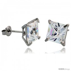 14K White Gold 7 mm Square CZ Stud Earrings Basket Set 3 1/2 Carat Size