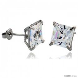 14K White Gold 7 mm Square CZ Stud Earrings Basket Set 3 1/2 Carat Size