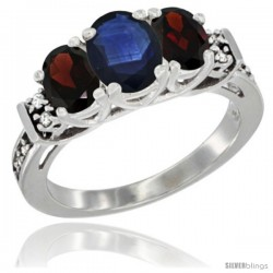 14K White Gold Natural Blue Sapphire & Garnet Ring 3-Stone Oval with Diamond Accent