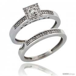 14k White Gold 2-Piece Diamond Engagement Ring Set, w/ 0.27 Carat Brilliant Cut Diamonds, 3/32 in. (2.5mm) wide -Style Ljw201e2