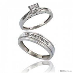 14k White Gold 2-Piece Diamond Ring Set ( Engagement Ring & Man's Wedding Band ), w/ 0.25 Carat Brilliant Cut -Style Ljw201em