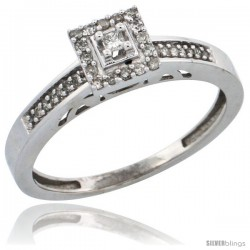 14k White Gold Diamond Engagement Ring, w/ 0.19 Carat Brilliant Cut Diamonds, 3/32 in. (2.5mm) wide -Style Ljw201er
