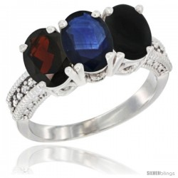 14K White Gold Natural Garnet, Blue Sapphire & Black Onyx Ring 3-Stone 7x5 mm Oval Diamond Accent