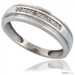 14k White Gold Men's Diamond Band, w/ 0.06 Carat Brilliant Cut Diamonds, 1/4 in. (6mm) wide -Style Ljw201mb