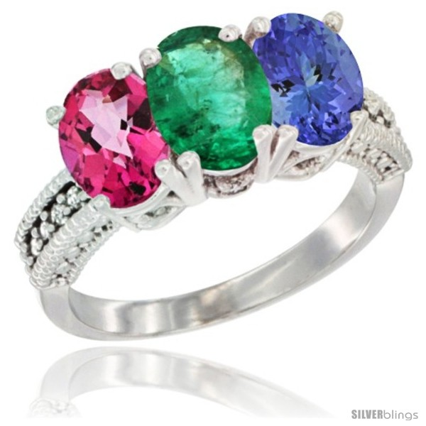 https://www.silverblings.com/78085-thickbox_default/10k-white-gold-natural-pink-topaz-emerald-tanzanite-ring-3-stone-oval-7x5-mm-diamond-accent.jpg