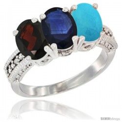 14K White Gold Natural Garnet, Blue Sapphire & Turquoise Ring 3-Stone 7x5 mm Oval Diamond Accent