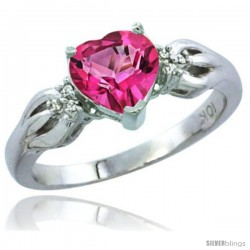 10K White Gold Natural Pink Topaz Ring Heart-shape 7x7 Stone Diamond Accent