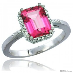10K White Gold Natural Pink Topaz Ring Emerald-shape 8x6 Stone Diamond Accent