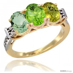 10K Yellow Gold Natural Green Amethyst, Peridot & Lemon Quartz Ring 3-Stone Oval 7x5 mm Diamond Accent
