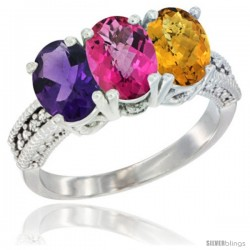 14K White Gold Natural Amethyst, Pink Topaz & Whisky Quartz Ring 3-Stone 7x5 mm Oval Diamond Accent