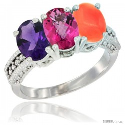 14K White Gold Natural Amethyst, Pink Topaz & Coral Ring 3-Stone 7x5 mm Oval Diamond Accent