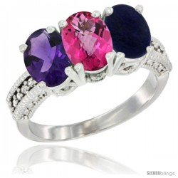 14K White Gold Natural Amethyst, Pink Topaz & Lapis Ring 3-Stone 7x5 mm Oval Diamond Accent