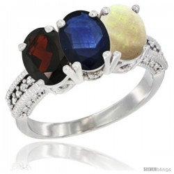 14K White Gold Natural Garnet, Blue Sapphire & Opal Ring 3-Stone 7x5 mm Oval Diamond Accent