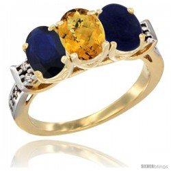 10K Yellow Gold Natural Blue Sapphire, Whisky Quartz & Lapis Ring 3-Stone Oval 7x5 mm Diamond Accent