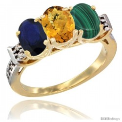 10K Yellow Gold Natural Blue Sapphire, Whisky Quartz & Malachite Ring 3-Stone Oval 7x5 mm Diamond Accent