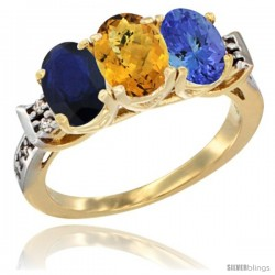 10K Yellow Gold Natural Blue Sapphire, Whisky Quartz & Tanzanite Ring 3-Stone Oval 7x5 mm Diamond Accent