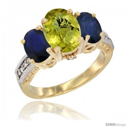 10K Yellow Gold Ladies 3-Stone Oval Natural Lemon Quartz Ring with Blue Sapphire Sides Diamond Accent
