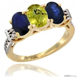 10K Yellow Gold Natural Lemon Quartz & Blue Sapphire Sides Ring 3-Stone Oval 7x5 mm Diamond Accent