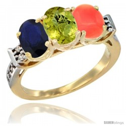 10K Yellow Gold Natural Blue Sapphire, Lemon Quartz & Coral Ring 3-Stone Oval 7x5 mm Diamond Accent