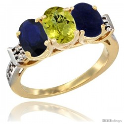 10K Yellow Gold Natural Blue Sapphire, Lemon Quartz & Lapis Ring 3-Stone Oval 7x5 mm Diamond Accent