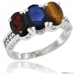 14K White Gold Natural Garnet, Blue Sapphire & Tiger Eye Ring 3-Stone 7x5 mm Oval Diamond Accent