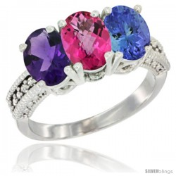 14K White Gold Natural Amethyst, Pink Topaz & Tanzanite Ring 3-Stone 7x5 mm Oval Diamond Accent