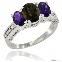 14k White Gold Ladies Oval Natural Smoky Topaz 3-Stone Ring with Amethyst Sides Diamond Accent