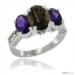 14K White Gold Ladies 3-Stone Oval Natural Smoky Topaz Ring with Amethyst Sides Diamond Accent