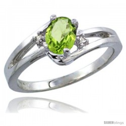 10K White Gold Natural Peridot Ring Oval 6x4 Stone Diamond Accent -Style Cw911165