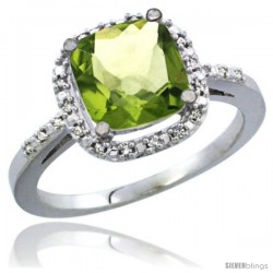 10K White Gold Natural Peridot Ring Cushion-cut 8x8 Stone Diamond Accent