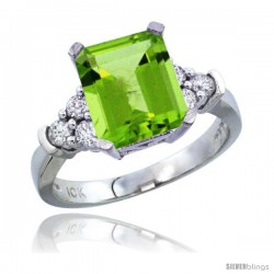 10K White Gold Natural Peridot Ring Emerald-shape 9x7 Stone Diamond Accent