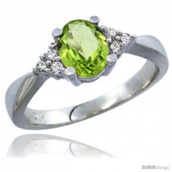 10K White Gold Natural Peridot Ring Oval 7x5 Stone Diamond Accent -Style Cw911168